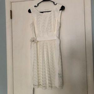 White Dress with Flower Belt